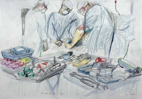 L0028360 A surgical operation: total knee replacement. Drawing by Vir Credit: Wellcome Library, London. Wellcome Images images@wellcome.ac.uk http://wellcomeimages.org A surgical operation: total knee replacement. Drawing by Virginia Powell, 1997. Lettering: Total knee replacement 16/1/97 Virg- Powell Observed at Chelsea and Westminster Hospital, Fulham Road, London. In the foreground are trial moulds for different sizes of artificial knee, some red, some mauve, some green. Copyright The Wellcome Trust Drawing 1997 By: Virginia PowellPublished: 16 January 1997 Copyrighted work available under Creative Commons Attribution only licence CC BY 4.0 http://creativecommons.org/licenses/by/4.0/