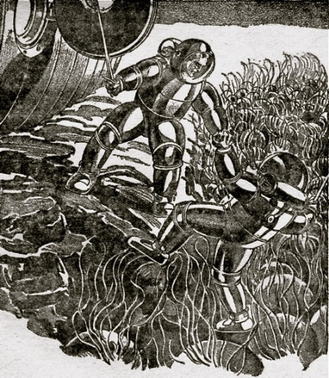 "An illustration of space travelers on an alien planet from Robert H. Wilson's science fiction story ""Out Around Rigel"", one of the first to deal with general relatiivity,  published in 1931 in Astounding Stories"