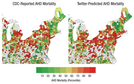 The maps show age-adjusted mortality from atherosclerotic heart disease as reported by the CDC and as predicted by Twitter language. (Counties not colored lacked reliable data.)
