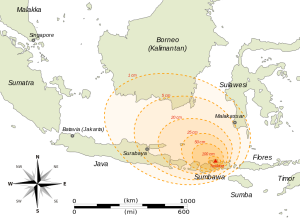 The extant and thickness of ashfall after the 1815 Tambora eruption.